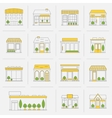 Store building icons set flat line vector image