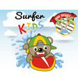 surfing time with happy surfer cartoon vector image vector image