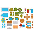 swimming pools and backyard design elements set vector image vector image