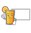 thumbs up with board orange juice character vector image vector image