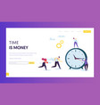 time tracking businessman concept landing page vector image