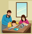 tired kids studying with their father at home vector image vector image