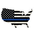 usa police support thin blue line vector image vector image