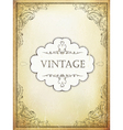 Vintage label with ornamental frame on aged bveige vector image vector image