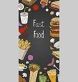 vintage vertical fast food on black background vector image