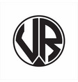 vr logo monogram circle with piece ribbon style vector image vector image