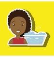 woman cartoon water bucket plastic detergent vector image