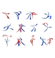 Modern dancers icons and symbols vector image