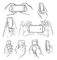 hands with mobile vector image