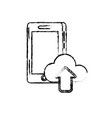 figure smartphone technology with cloud data icon vector image