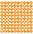 100 digital marketing icons set orange vector image vector image