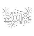 2018 happy new year linear style vector image
