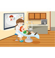 a boy at dental clinic vector image
