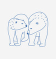 adorable pair polar bears hand drawn vector image