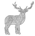 adult coloring book page with stylized deer vector image