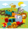 animals by train vector image vector image