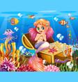 background scene underwater with mermaid