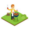 barbecue man cook meat steak nature forest vector image vector image