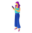 businesswoman with mobile phone isometric 3d vector image vector image