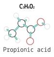 C3H6O2 Propionic acid molecule vector image vector image