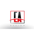 ca c a logo letters with red and black colors and vector image vector image