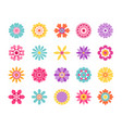 cartoon flower icons cute summer stickers vector image