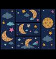 cartoon night sky hand drawn print with stars vector image