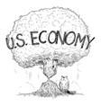 cartoon tree representing us economy weakened vector image vector image