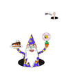cartoon wizard with cake and flower vector image vector image