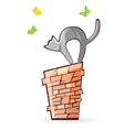 cat on the pipe vector image vector image