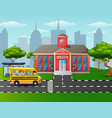 children going to school with school bus vector image vector image
