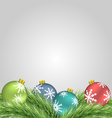Christmas balls on pine branches vector image vector image