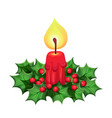 christmas candle with other decorative elements vector image vector image