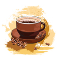 coffee and beans vector image vector image