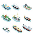 commercial sea ships isometric 3d elements vector image