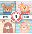 cute winter bear characters vector image vector image