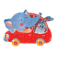 elephant and hare in car vector image vector image