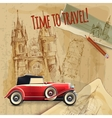 Europe Travel Car Vintage Poster vector image vector image