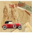 Europe Travel Car Vintage Poster vector image