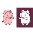friendly pig character vector image