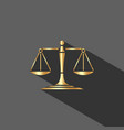 golden scales of justice icon with shadow on dark vector image