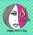 greeting card with 8 march womens day 16 vector image vector image