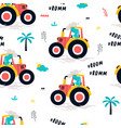 hand drawing tractor and worker dinosaur vector image vector image