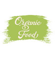hand drawn lettering organic food on a paint brush vector image vector image