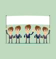 happy business team with a banner isolated vector image vector image