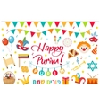Happy Purim carnival set of design elements icons vector image