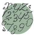 Ink alphabet X to Z with numbers freehand funky vector image vector image