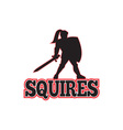 Knight Silhouette Squires Sword Shield Cartoon vector image vector image