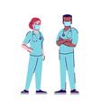 medical workers in coronavirus outbreak flat vector image