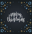 merry christmas lettering on black background vector image